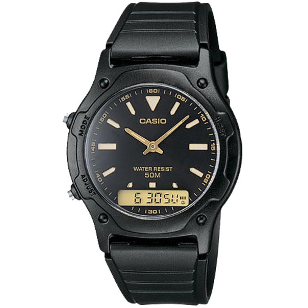 CASIO 超時玩家雙顯指針錶(AW-49HE-1A)-黑底金字