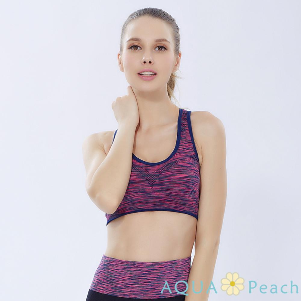 運動內衣 緞染縷空挖背抗震內衣 (紫紅色)-AQUA Peach
