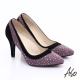 A.S.O 輕透美型 全真皮雙材質水鑽高跟鞋 紫 product thumbnail 1