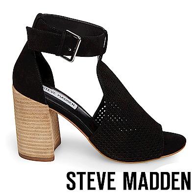STEVE MADDEN-SAWYER 洞洞真皮繞踝粗高跟涼鞋-黑色