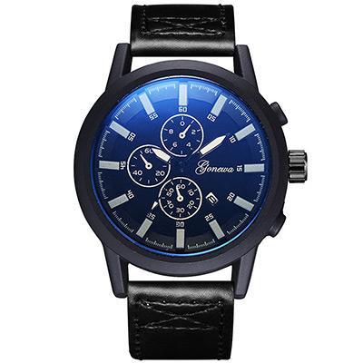 Gonewa-星際領航 時尚復古軍式仿三眼日曆手錶(3色任選)