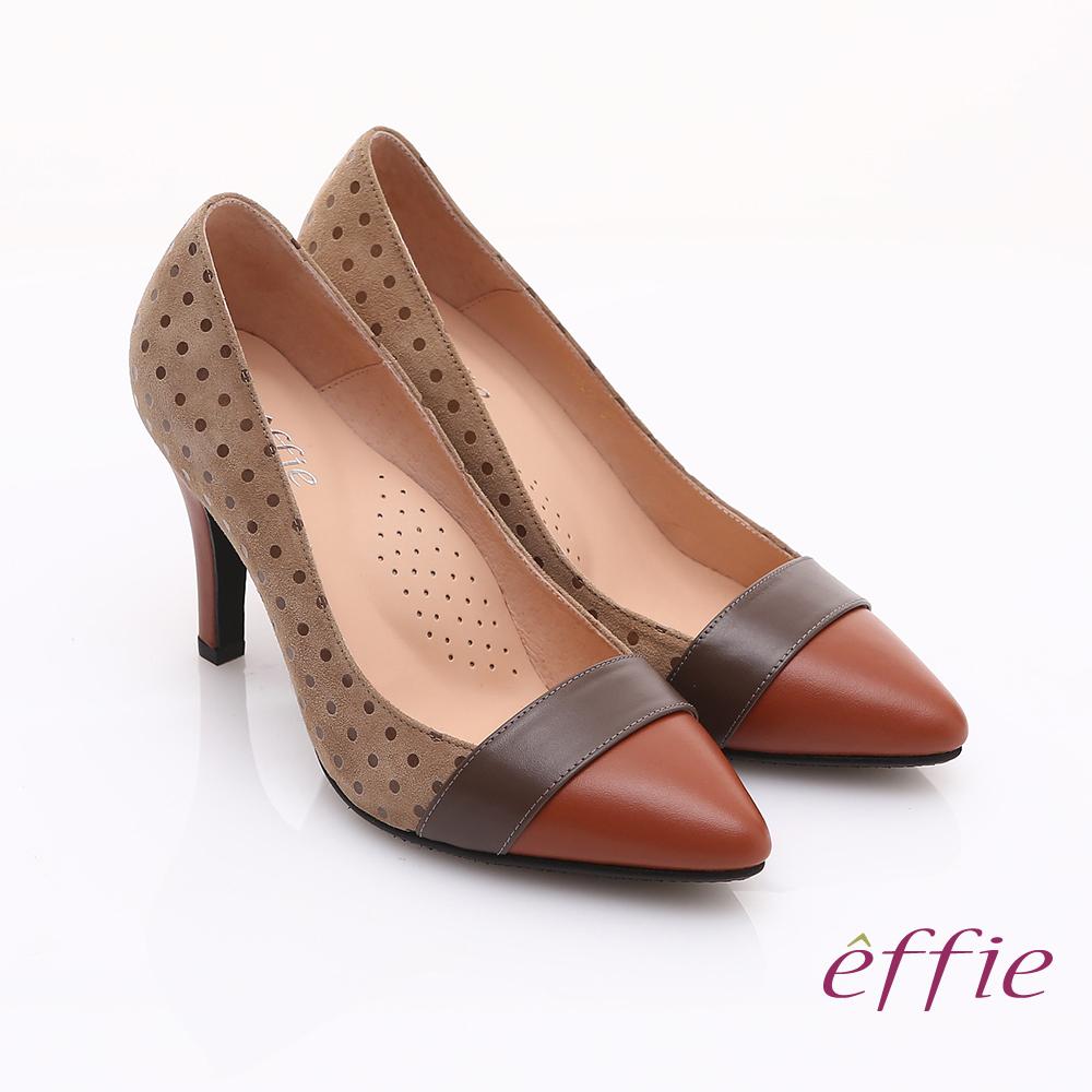 effie 輕透美型 羊皮拼接絨面點點高跟鞋 卡其