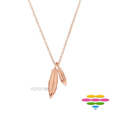 彩糖鑽工坊 羽毛項鍊 銀鍍玫瑰金項鍊 桃樂絲 Doris系列