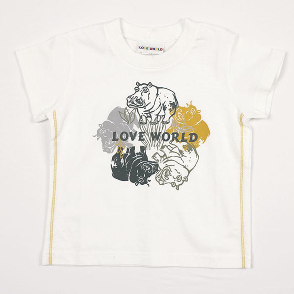 愛的世界 純棉圓領河馬圓圖短袖T恤/3~4歲