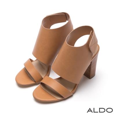 ALDO-原色羅馬戰士寬版魔鬼氈式粗高跟鞋-個性駝色