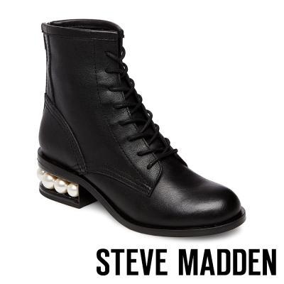 STEVE MADDEN-PIXY 珍珠鑲嵌綁帶後拉鍊短筒靴-黑色