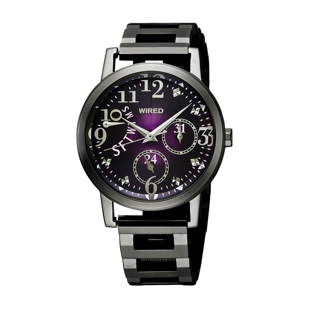 WIRED f 魔幻佳人時尚腕錶(AN7023X)-紫x鍍黑/34mm
