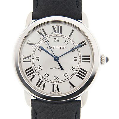 CARTIER RONDE SOLO WSRN 0021 經典中型機械皮帶腕錶x 36 mm