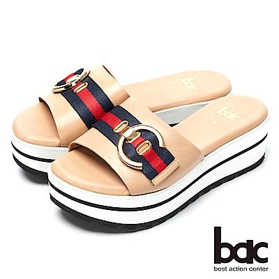 bac經典時尚-搶眼裝飾厚底台拖鞋-奶茶色
