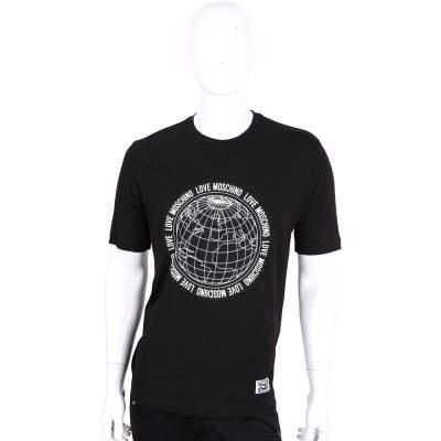 LOVE MOSCHINO 黑色地球儀圖印棉質短袖T恤