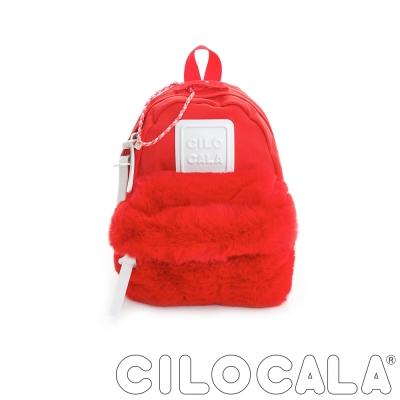 CILOCALA 限量版-亮彩尼龍毛毛防潑水後背包-紅色(迷你)