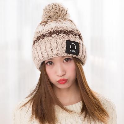 幸福揚邑 MUSIC潮流雙層保暖護耳小顏拚色毛球針織毛線帽-卡其
