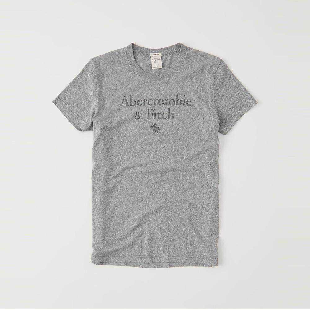 A&F 經典印刷文字短袖T恤-灰色 AF Abercrombie