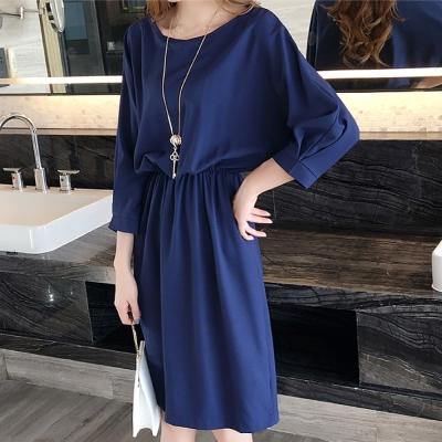 中大尺碼 大寬領藍色寬袖縮腰七分袖連身洋裝XL~4L-Ballet Dolly