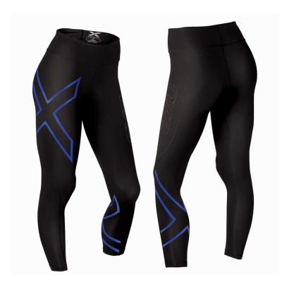 2XU-女中腰款壓縮長褲-WA2864b-黑藍色
