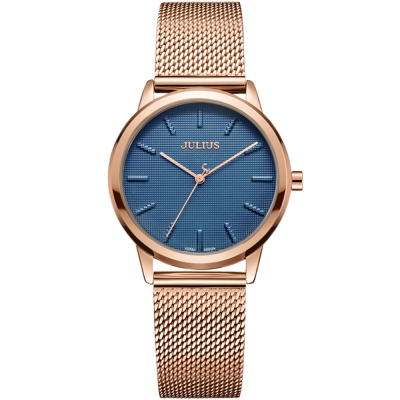 JULIUS聚利時 無限星空米蘭錶帶腕錶-藍色x玫瑰金/32mm