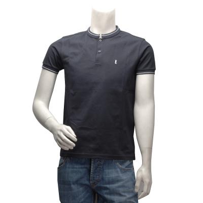 YSL 簡約純色白邊短袖小領POLO衫(黑-M)