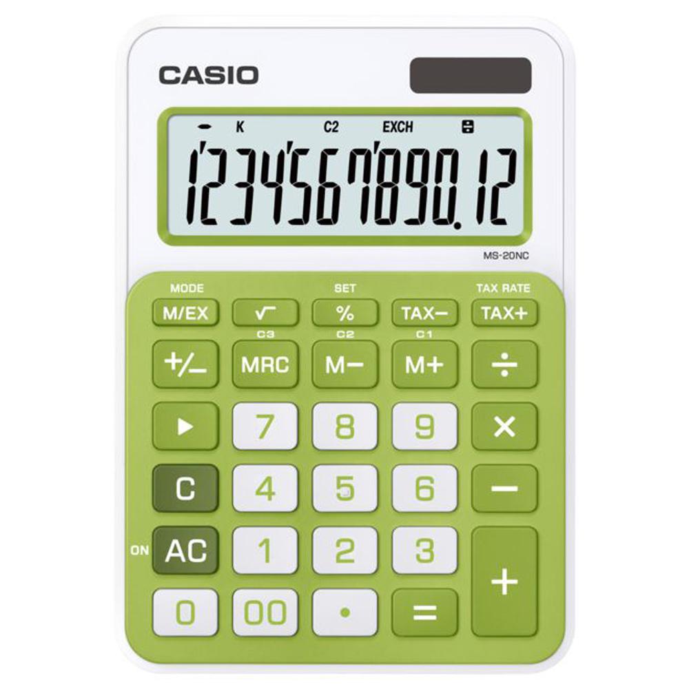 CASIO 12位數時尚多彩桌上型計算機(MS-20NC-GN)綠/白