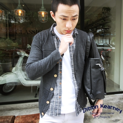 DITION 韓系平輸skinny木釦高密度開襟針織罩衫