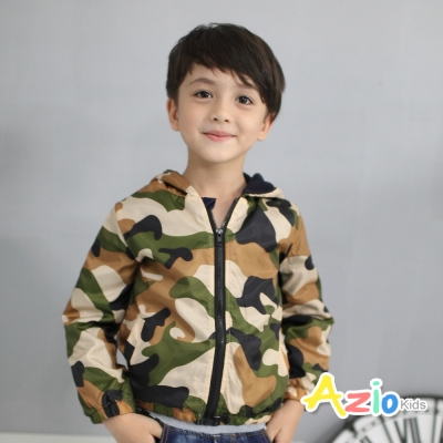 Azio Kids 童裝-連帽外套 迷彩口袋拉鍊搖粒絨風衣外套(卡其)