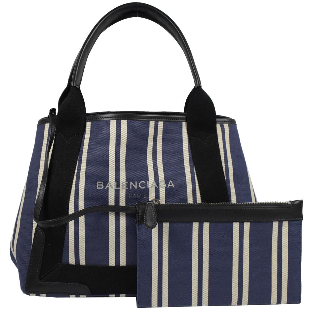 BALENCIAGA NAVY系列條紋帆布托特包(藍紫)BALENCIAGA