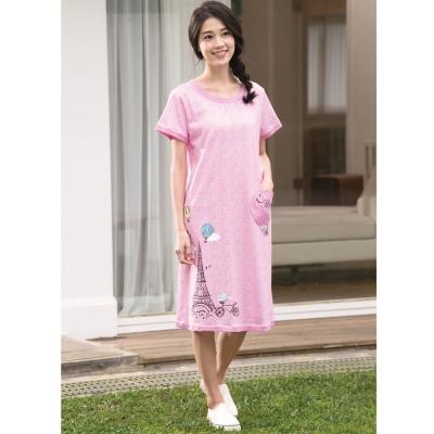 華歌爾睡衣 Pretty Amy 印花 M-L 短袖裙裝家居服(甜美粉)