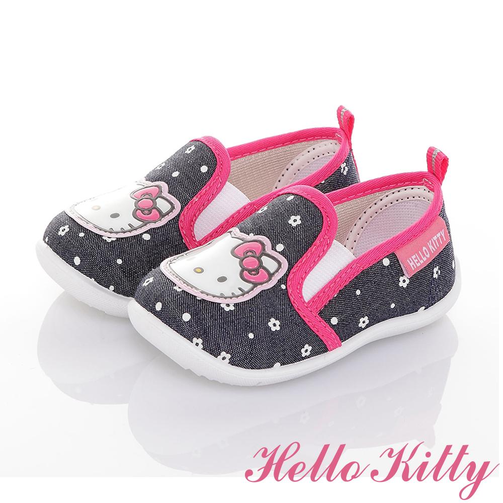 HelloKitty童鞋 牛仔系列 輕量抗菌減壓懶人學步鞋-可室內-藍