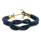 Kiel James Patrick 美國手工船錨水手繩結單圈手環 海軍藍皮革編織