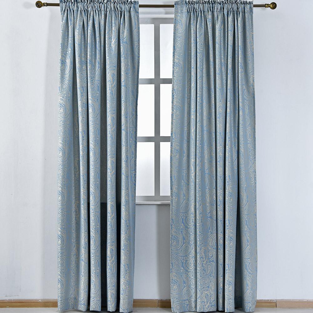 伊美居 - 藍鵲緹花落地窗簾 130x230cm(2件)