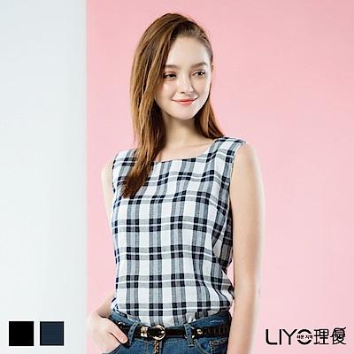 LIYO理優格紋無袖上衣(藍)
