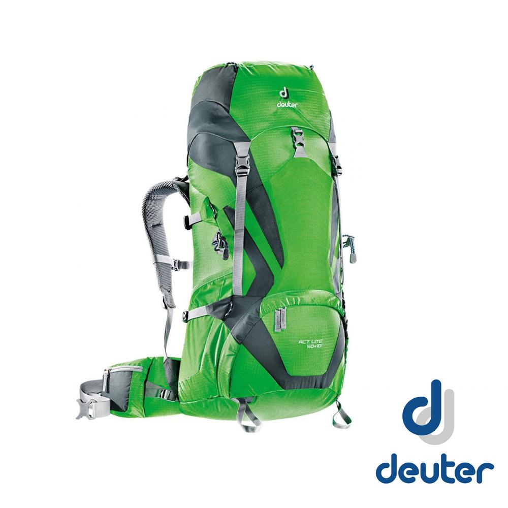 【德國 Deuter 】ACT Lite 50 + 10 輕量透氣登山健行背包_綠/灰