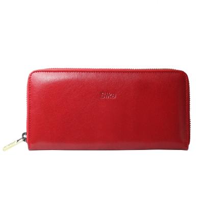 Sika義大利時尚真皮拉鍊式長夾A8236-04魅惑紅