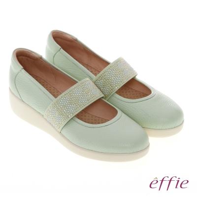 effie 輕漾漫步 真皮織帶素面奈米休閒鞋 淺綠色