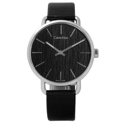CK EVEN 沉靜雅緻岩紋皮革手錶-黑色/42mm