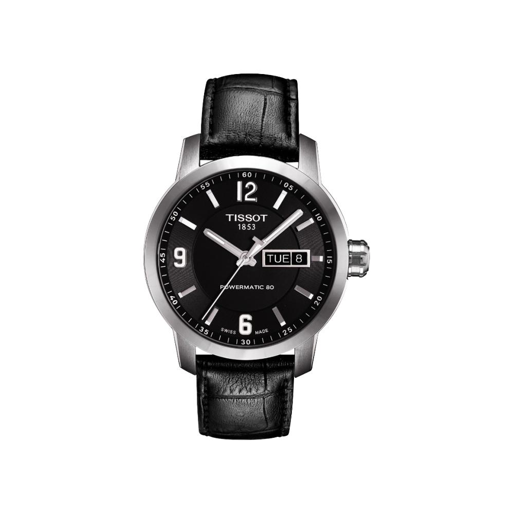 TISSOT PRC200 Powermatic 80時尚機械皮帶腕錶-黑39mm