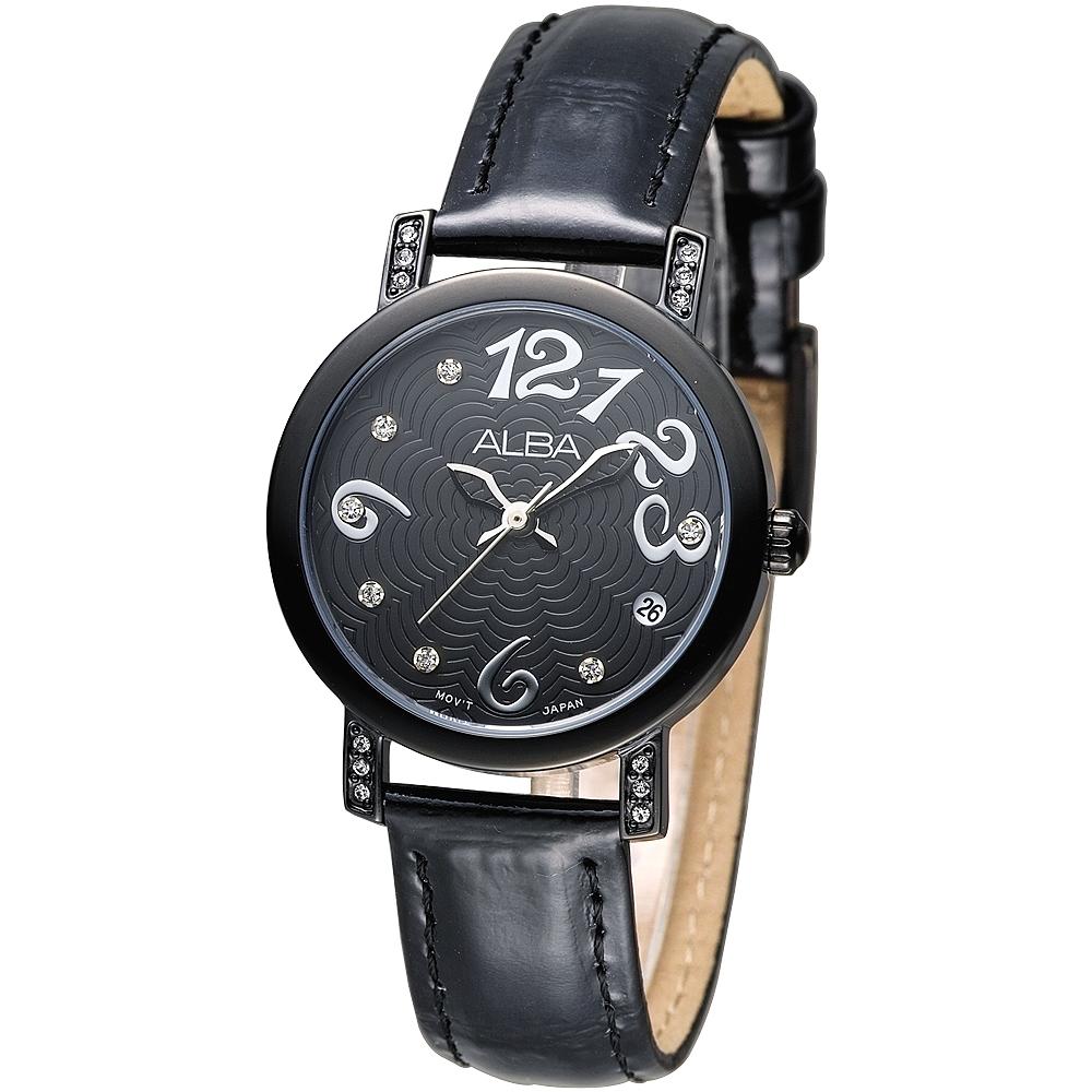 ALBA 天使心鑽甜美淑女腕錶(AG8443X1)-黑x黑框/30mm