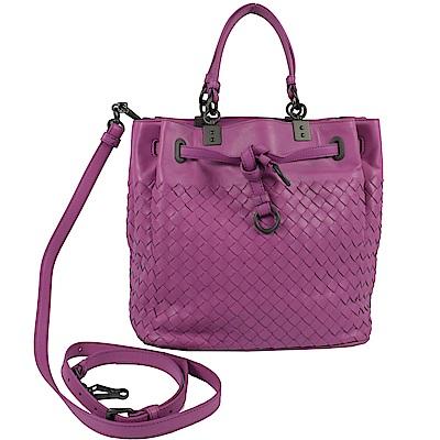 BOTTEGA VENETA編織手提斜背兩用水桶包(桃紫)