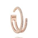 ASTRID&MIYU英國潮流品牌  雙環水鑽開口可調式戒指 玫瑰金