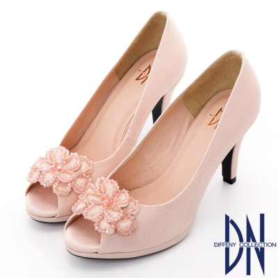 DN 氣質名媛 水鑽花朵拼接金蔥魚口跟鞋-粉