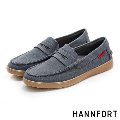 HANNFORT CARIBBEAN帆布氣墊樂福鞋-男-質感灰
