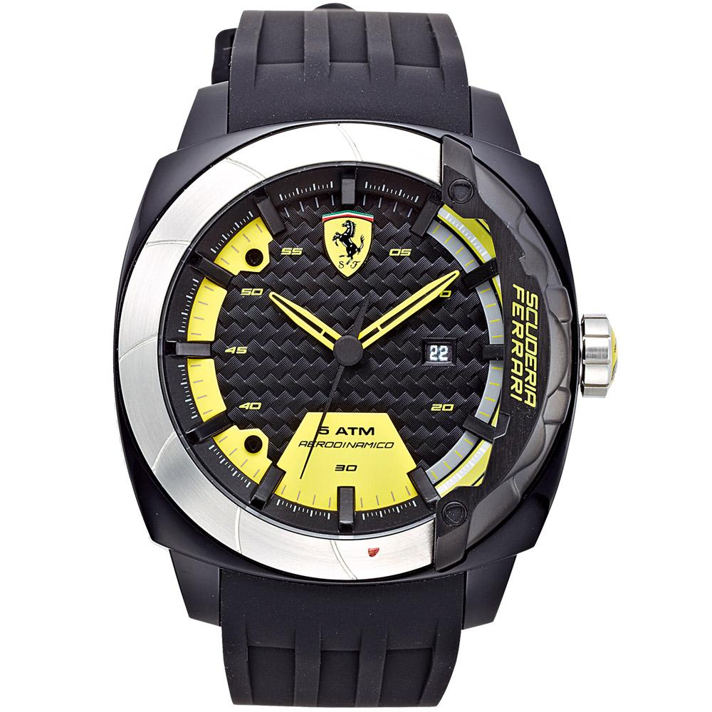 Scuderia Ferrari Black TR90 碳纖維運動腕錶-黑x黃/46mm