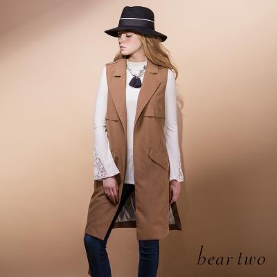 beartwo-率性翻領附綁帶開衩背修身長版背心-二色