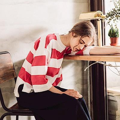 CACO-七分條紋針織上衣(三色)-女【PSH025】