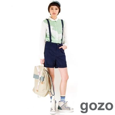 gozo-三角口袋立體剪裁吊帶短褲-共二色