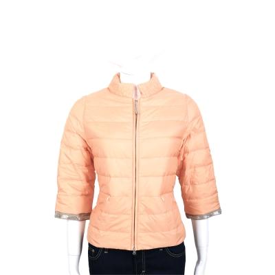FABIANA FILIPPI 粉橘色珠飾七分袖羽絨外套