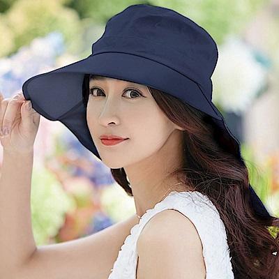 【幸福揚邑】清爽優雅抗UV護頸大帽檐可捲收露馬尾遮陽帽-深藍