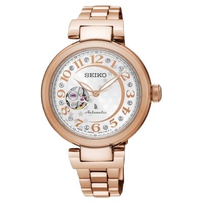 SEIKO精工 LUKIA 星月鏤空機械女錶(SSA 826 J 1 )-銀x玫塊金/ 34 mm