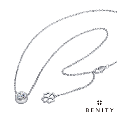 BENITY 我的幸運 幸運草吊牌設計 316白鋼/西德鋼 八心八箭cz排鑽 女項鍊