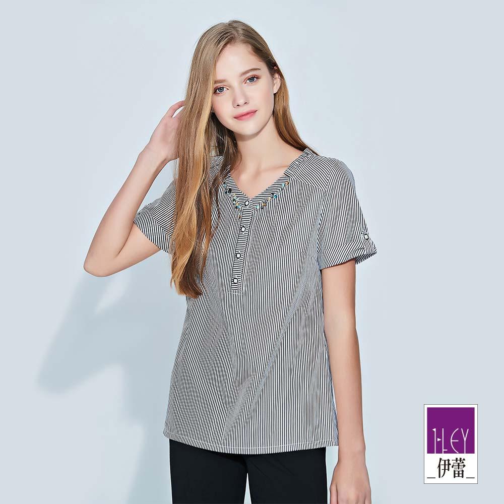ILEY伊蕾 反褶造型短袖輕薄條紋上衣(黑)