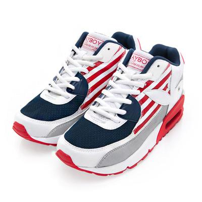 PLAYBOY 美式潮流 條紋拼接氣墊運動鞋-紅藍